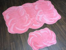 ROMANY TRAVELLER MATS SET 4PC NON SLIP LARGE SIZE 75CMx125CM SUPER THICK PINK